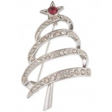 Anne Klein Silver-Tone Crystal Holiday Tree (Silver, One Size)