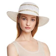 Aqua Metallic Striped Floppy Sun Hat (White)
