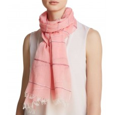 Aqua Women's Embroidered Striped Oblong Scarves