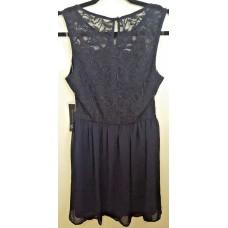 As U Wish Striped Sleeveless Lace Short Dress (Navy, Large)