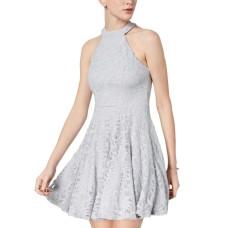 B Darlin Juniors' Glitter Lace Fit & Flare Dress (Silver,1/2)