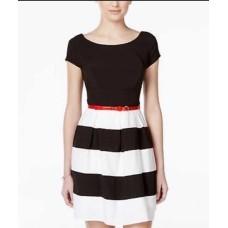 B Darlin Juniors' Sleeveless Multi-Print Dress (Black/White/Red, 5/6)