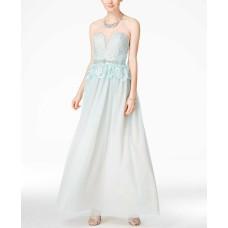 B. Darlin Juniors Strapless Lace Peplum Gown