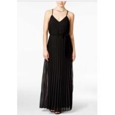 B. Darlin NEW Deep Black Size 1/2 Junior V-Neck Maxi Pleated Dress $79