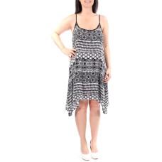 B DARLIN Womens Black Tribal Sleeveless Scoop Neck Below The Knee Trapeze Dress Juniors (Size:3/4)