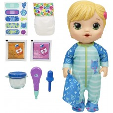 Baby Alive Mix My Medicine Baby Doll, Kitty-Cat Pajamas, Drinks and Wets, Doctor Accessories, Blonde Hair Toy for Kids Ages 3 and Up