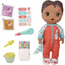 Baby Alive Mix My Medicine Baby Doll, Llama Pajamas, Drinks and Wets, Doctor Accessories, Black Hair Toy for Kids Ages 3 and Up