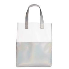 Ban.do Holographic Peekaboo Tote Handbag  – Metallic Silver
