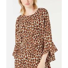 Bar III Bell-Sleeve Leopard-Print Dress (Black, 2)