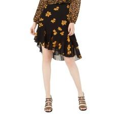 Bar III Ruffled Asymmetrical Skirt (Black, L)
