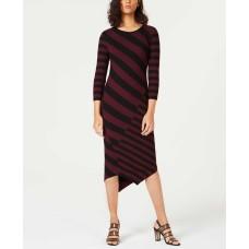 Bar III Striped Asymmetrical Sweater Dress (Medium Red, XS)