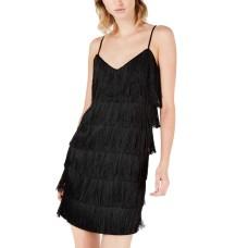Bar III Woman's Fringe V-Neck Slip Dresses