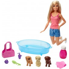 Barbie Doll Blonde and Playset with 3 Puppies and Accessories