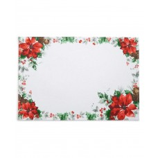 Bardwil Christmas Poinsettia Watercolor Placemat (Green, 13″ x 70″)