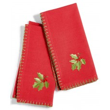 Bardwil Linens Embroidered Poinsettia Napkins Set Of 2