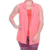 Bcx Juniors' Notched-Collar Vest (Coral, Medium)