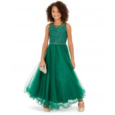 Beautees Big Girls Floral-Sequinned Wire-Hem Maxi Dresses
