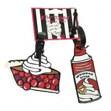 Betsey Johnson 2‑piece Set Rubber Luggage Tags Pie & Whipped Cream