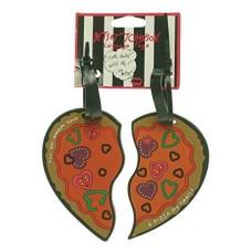 Betsey Johnson Heart‑Shaped Pizza Luggage Tag Set (Orange)
