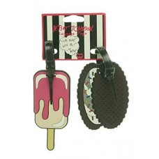 Betsey Johnson Womens Rubber Ice Cream Luggage Tags Pink O/S