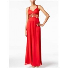 Blondie Nites Juniors' Embellished Crisscross-Back Gown (Red Gold, 9)