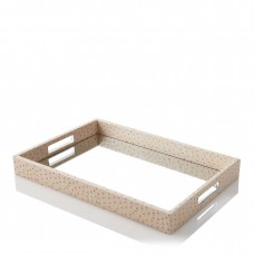 Bloomingdale's Blush Ostrich Mirrored Tray 12×18″