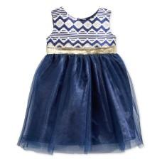 Blueberi Boulevard Brocade & Tulle Dress (6-9 Months, Navy)