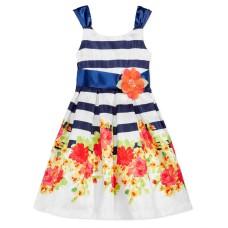 Bonnie Jean Floral-Print Striped Party Dress (Navy/White, 16)