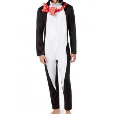 Briefly Stated Men's Penguin Hooded Fleece One Piece Pajamas