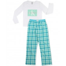 Calvin Klein Big Girls 2-Pc. Logo Fleece Pajamas Sets