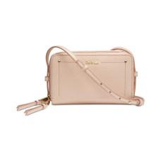 Calvin Klein Boxy Leather Zip Around Crossbody (Medium Beige)