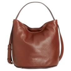 Calvin Klein Cara Small Bucket Bag – Mahogany