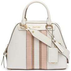 Calvin Klein Clara Stucco Leather Key Item Dome Handbag Satchel (White)