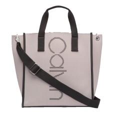 Calvin Klein Eden Knit North/South Vertical Branding Handbag Tote (Grey/Black)