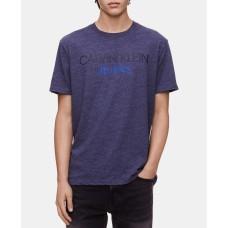 Calvin Klein Jeans Men's Logo Print T-Shirt (Bright Blue, Medium S/S)