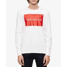 Calvin Klein Jeans Men's Long-Sleeve Boxed Logo T-Shirt (Natural, X-Large)
