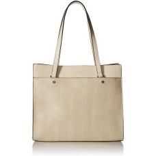 Calvin Klein Leo Smooth PU Novelty East/West Boxy Large Handbag Tote (Off White)