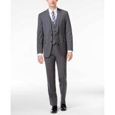 Calvin Klein Men's Big & Tall Slim-Fit Windowpane Plaid Vested Suit 3 pc Garment (Gray/Blue, 42)