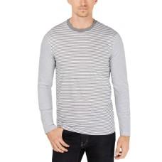 Calvin Klein Men's Jersey Feeder Striped Shirt (Gray, XXL)