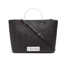 Calvin Klein Morgan Woven Novelty Large Handbag Tote (Black, One Size)