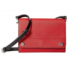 Calvin Klein Susan Saffiano Leather Flap Crossbody (Red)