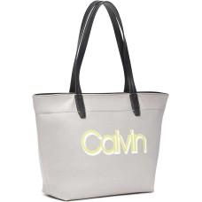 Calvin Klein Womens Celia Nylon Organizational Small Handbag Tote (Grey Combo)