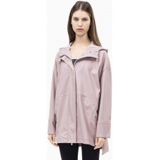 Calvin Klein Women's Hi Lo Hooded Rain Slicker (Eveining Sand, M)