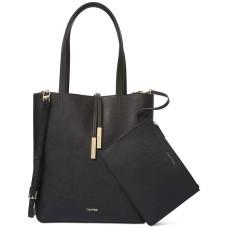 Calvin Klein Women's Kalina Handbag Tote with Pouch (Black/Gold)