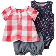 Carter's 3 Piece Diaper Cover Set, Red Gingham, 6 Months