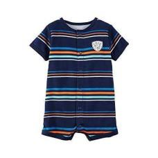 Carter's Baby Boys' Striped Snap Up Romper (Blue, Newborn)
