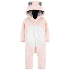 Carter's Baby Girls Hooded Bear Fleece Jumpsuits