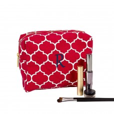 Cathy's Concepts Personalized Moroccan Lattice Cosmetic Bag (Coral, Letter R)