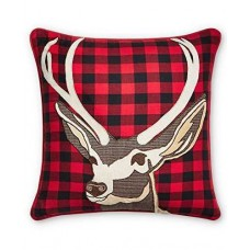 Celebrate Shop 16 x 16-in Stag-Head Plaid Pillow, Red