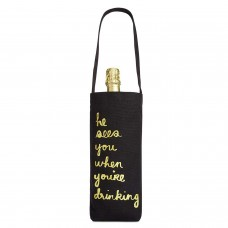 Celebrate Shop 'He Sees You When You're Drinking' Fabric Wine Bag (Black)